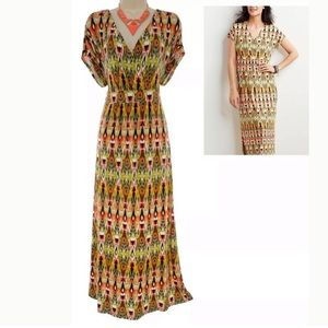 J. Jill Ikat Tribal Print Maxi Dress